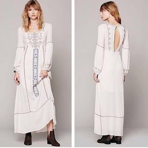 FREE PEOPLE Ivory Boho Embroidered Maxi Dress